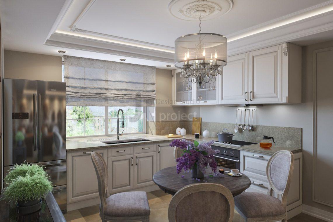 Кухня-гостиная дизайн квартиры Володарского