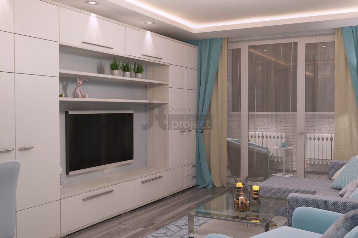 Дизайн проект гостиной UP-квартал