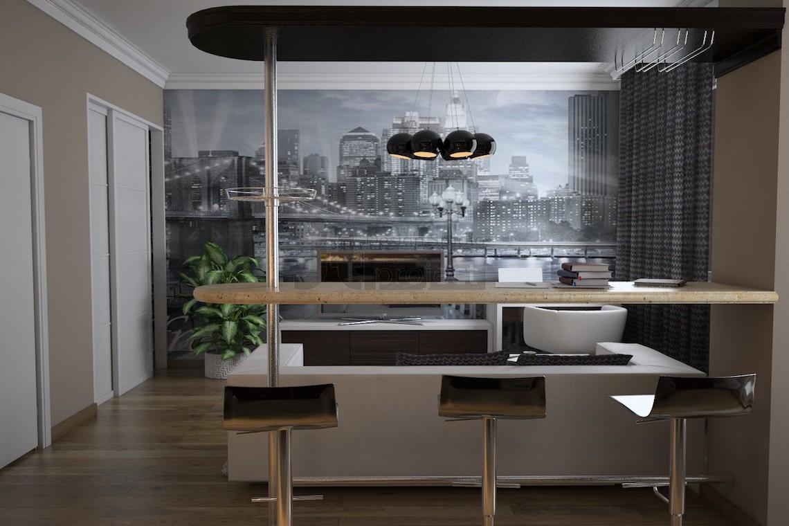ЖК Весна Кухня-Гостиная дизайн интерьера