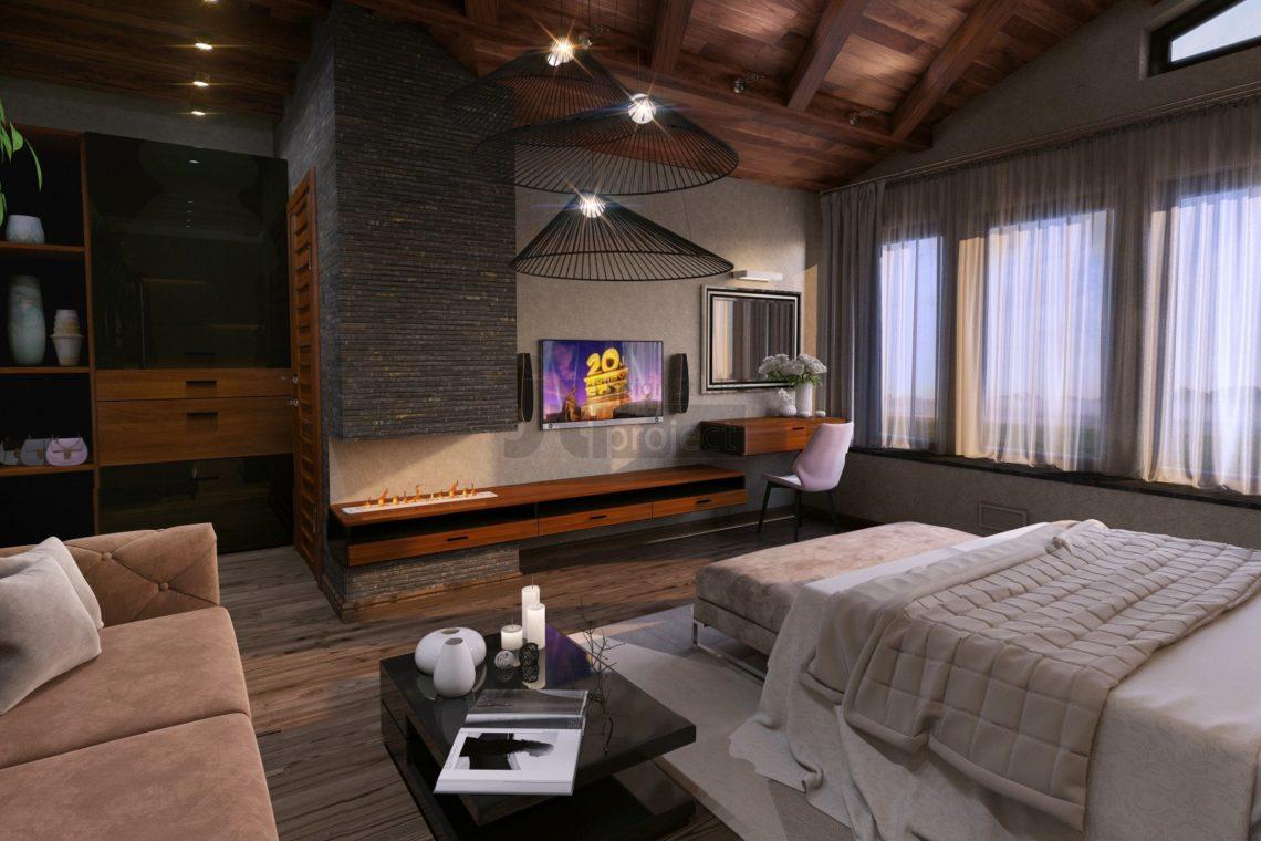 Интерьер спальной комнаты с камином Дом в Ростове-на-Дону