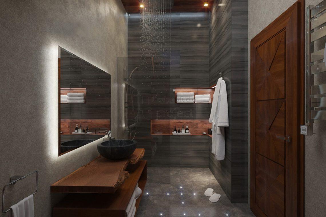 Интерьер ванной комнаты с окном на крыше Дом в Ростове-на-Дону