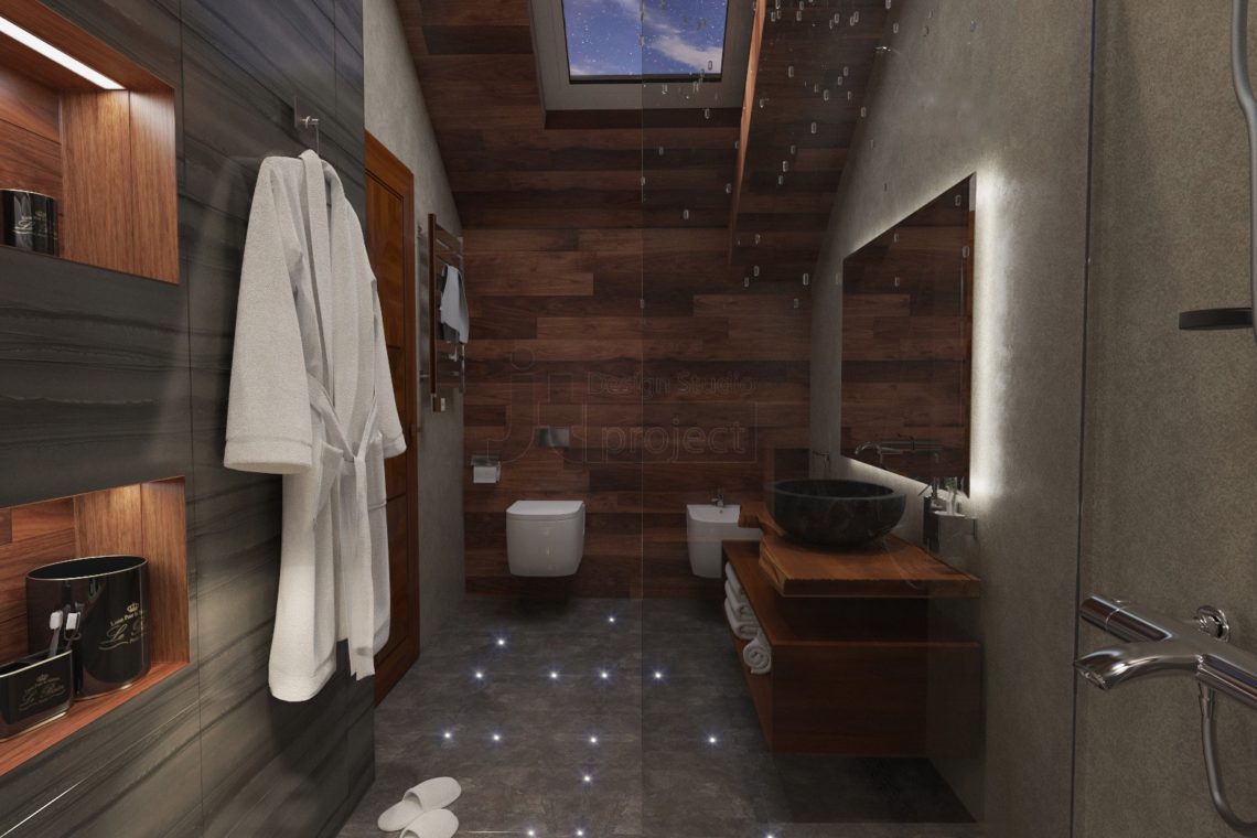 Интерьер ванной комнаты с окном Дом в Ростове-на-Дону